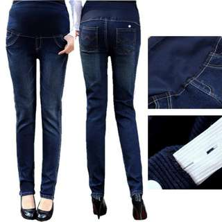SLIM FIT KOREAN STYLE MATERNITY DENIM LONG PANTS JEANS - DARK BLUE