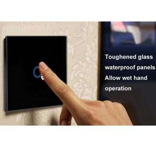 Touch Switch with Remote Controller Crystal Glass Panel Touch Lamp Switch, Black