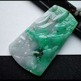 🎍Grade A 冰糯 Apple Green Scenery Jadeite Jade Pendant/Display🎍🏵️