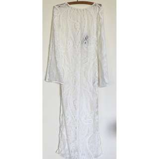 NWOT H&M Size 8 Sheer white lace maxi