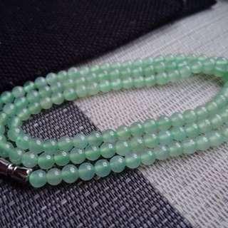 翡翠A貨有種有色冰種起熒光水潤細膩晴水綠圓珠手鍊項鍊特價包郵順豐不議不退,直徑: 4.7毫米,配送證書