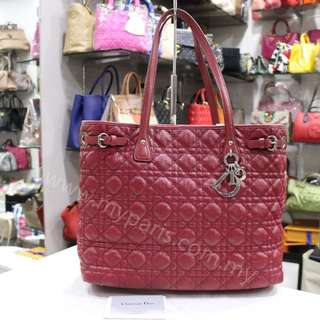 Christian Dior Red Camvas Cannage Panarea Medium