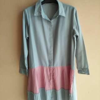 SUGAR KLEREN Shirt - Abu muda (aksen pink)