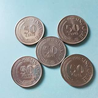 Singapore 50 cents coin