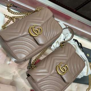 Ready on 8/1 Brand New Gucci GG Marmont Small 26cm in Nude Leather GHW Receipt Butik, DB, PB