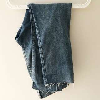 H&M Cropped Denim Jeans Tapered Fit