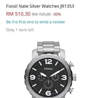 Fossil Nate Silver Watch