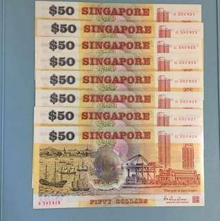 Singapore 1990 polymer $50 8-runs (unc)