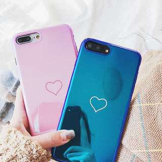 PO(170) Pink Blue Heart iPhone OPPO Phone Case