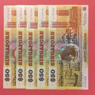 Singapore 1990 polymer $50 5-runs (unc)