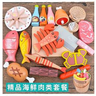 Seafood and Meat Magnetic Wooden Cutting Toys Set