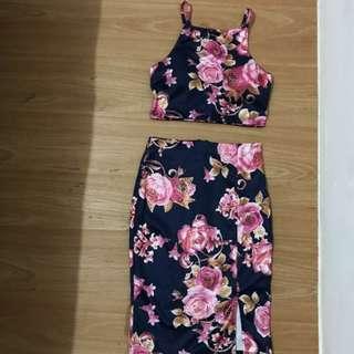 Crop top & slit skirt