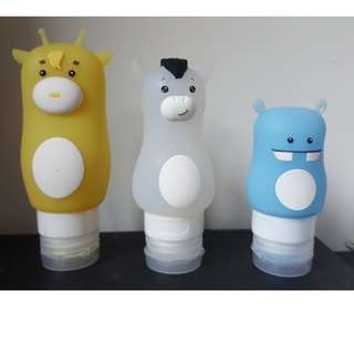 3 cute Silicone Squeeze bottles for Shampoo/lotion