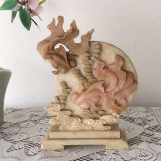Marble stone carving gold fish display