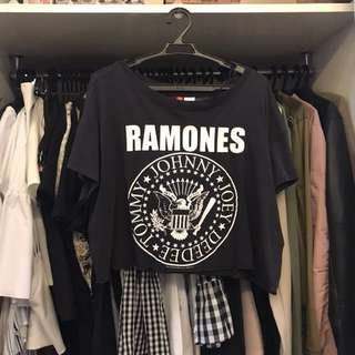 H&M Ramones Black Crop T Shirt