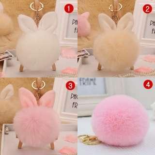 Pom Pom Keychain fox fur ball key chain bunny keychain