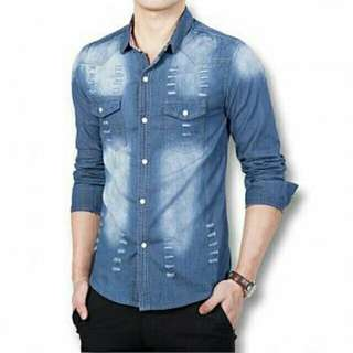BST. KMJ RICHI NEVY 82.000  Kemeja pria lengan panjang matt jeans wash ori ld110cm pj70cm