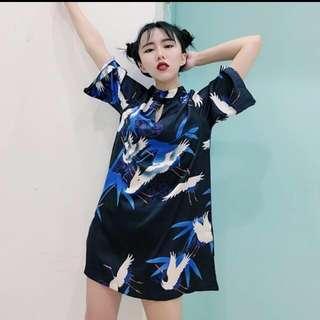 🚚 🌝↘降價出清 日系古著 復古仙鶴 旗袍連身裙