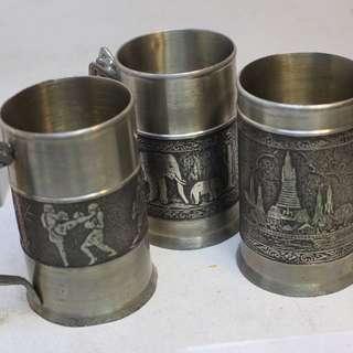 錫制 裸美人魚柄 各種風情故事紋 錫制大杯3個