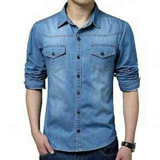 BST. KMJ TIMIKO BOY BIRU TUA 78.000  kemaja pria lengan panjang matt jeans wash ori ld.110 pj.70