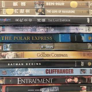 Various Hollywood movies in DVD