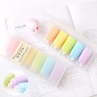 Cute macaroon colour white out correction tape rainbow 6 set