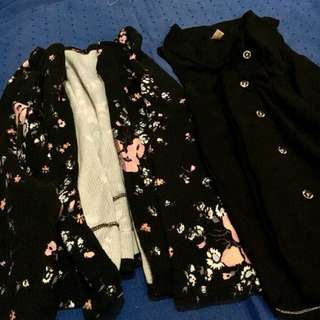 👚Flower Printed Coat & Black Sleeveless Blouse - Bundle 3👚