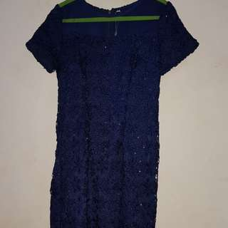 Dress brokat biru dongker