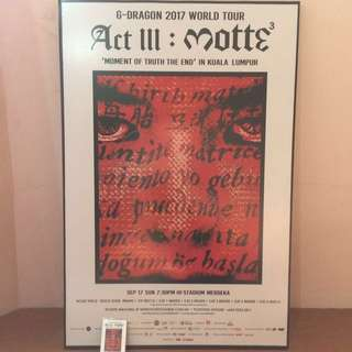 G-Dragon 2017 Malaysia World Tour <ACT III: MOTTE> Framed Poster + Autograph!
