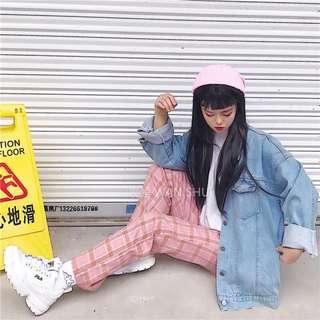韓國ins原宿風格子加絨寬鬆休閒褲長褲