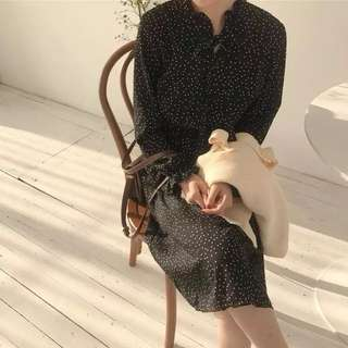【免運】黑色點點雪紡洋裝 預購 免運