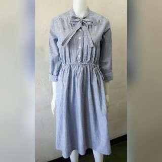 Blue pinstripe midi dress long sleeve