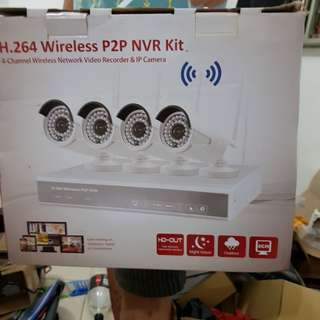 4-channel H.264 Wireless Network Video Recorder with IP Camera Kit