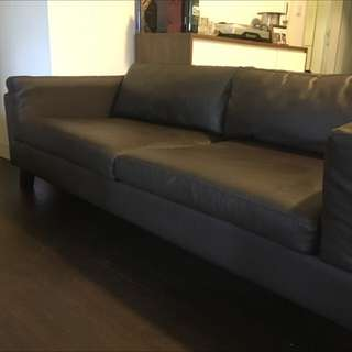 Brown bonded leather couch sofa