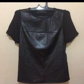 zara leather top blouse tee tshirt