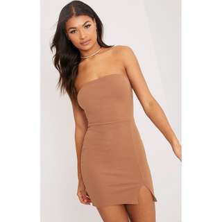 🎁 Nude/Camel Strapless Bodycon Dress