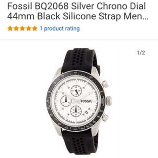 Fossil Watch Silver Chrono Dial 44mm Black Silicone Strap