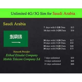 Saudi Arabia sim card. Saudi Sim card.Unlimited data 4G