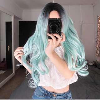 Every day wigs green blue ombré curl wig