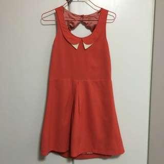 可愛甜美風氣質橙紅色連身短裙
