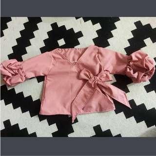 Ruched Sleeve Kimono Wrap