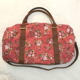 Floral peach duffle bag