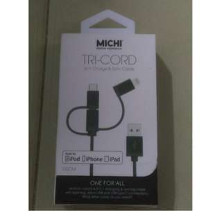 MICHI TRI-CORD 3 in 1 charge & Sync Cable (100cm)