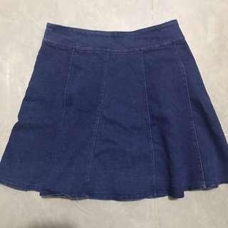 深藍色 牛仔百褶裙