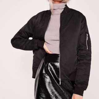 Missguided black bomber with zip details