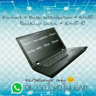 Format and basic installation for laptop