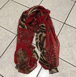 紅色系豹紋動物紋圍巾