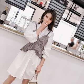 🚚 (M-L)氣質套裝長版襯衫裙兩件式細肩帶格子背心 燈籠袖收腰襯衫洋裝 春裝新款