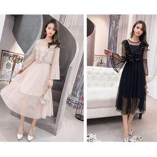 春裝名媛氣質荷葉邊網紗長裙 喇叭袖優雅連身裙 顯瘦兩件式