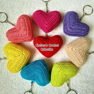 Crochet Padded Heart Keychain